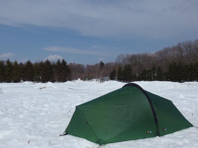 北軽井沢スイートグラスで雪中父子キャンプ