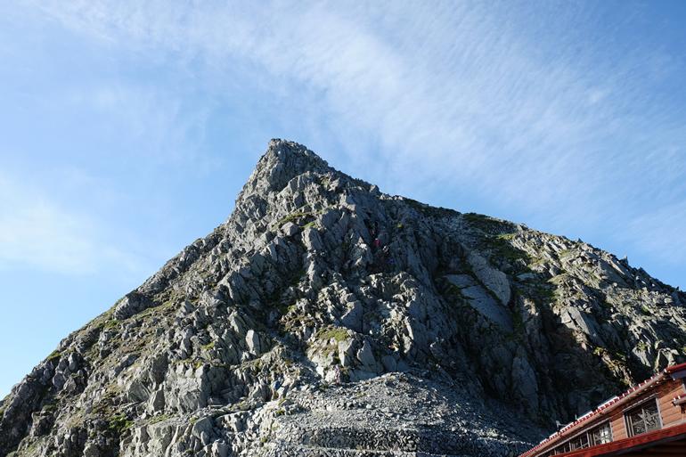 穂高岳山荘から奥穂高岳への道