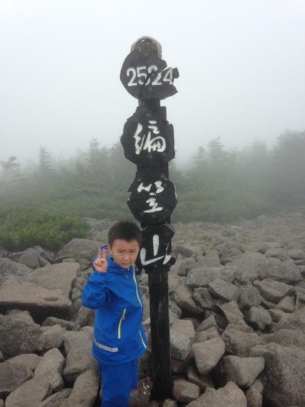 ソウタ5歳。編笠山山頂にて